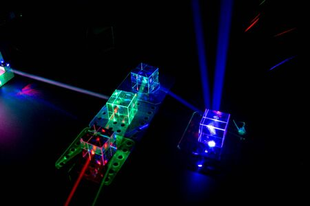 Photo for Laser beams in the laboratory of optical physics - Royalty Free Image
