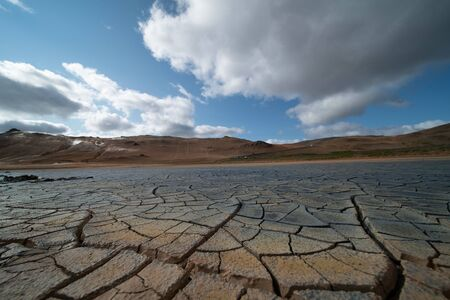 Photo for Dried land in the desert. Cracked soil crust - Royalty Free Image