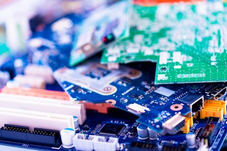 Photo for electronic PCB garbage as background from recycle industry and old consumer devices - Royalty Free Image