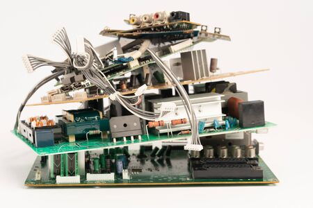 Foto de electronic PCB garbage as background from recycle industry and old consumer devices - Imagen libre de derechos