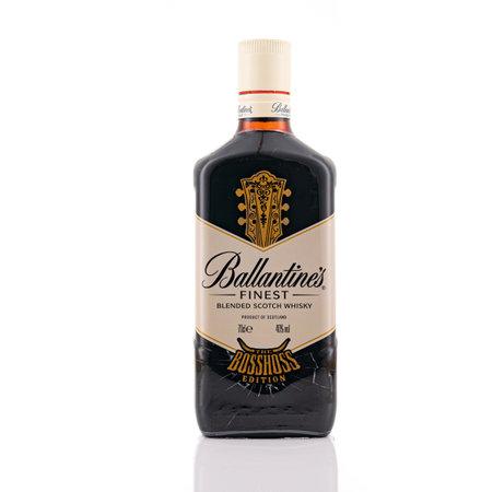 Berlin - JAN 15, 2020: Ballantine's  Blended Scotch whiskies on store shelf in Berlin  Ballantine's It is range of Blended Scotch whiskies produced by Pernod Ricard in Dumbarton, Scotland.