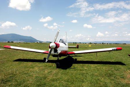 Beautiful aircraft on grass runway