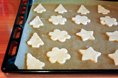 Gingerbread cookies in tray ready for baking