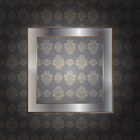 Graphic illustration of metallic frame over wall