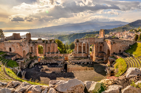 Taormina theater with the Etna volcano in the back in Sicily, Italy