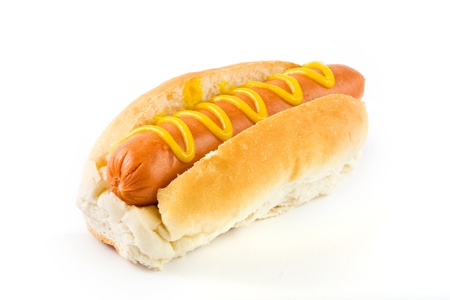 Hot dog with mustard on a white background