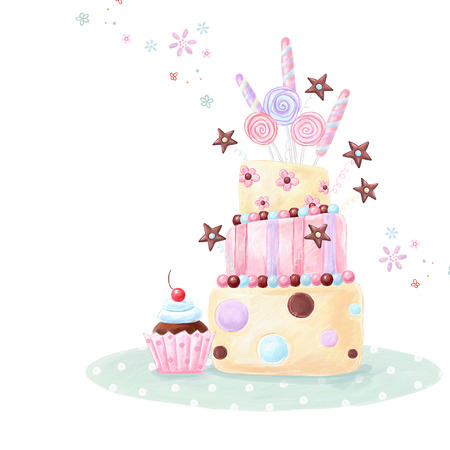 Tea time template design. Illustration made of birthday cake, sweets and cupcake.Bright summer outlines made from tea things. Let\\\\