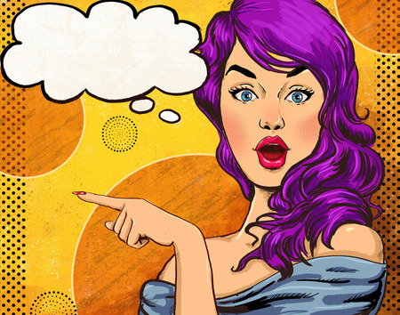 Photo pour Pop Art illustration of girl with the speech bubble.Pop Art girl. Party invitation. - image libre de droit