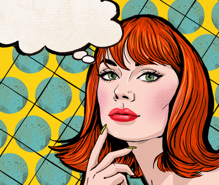 Pop Art illustration of girl with the speech bubble.Pop Art girl.Party invitation.Birthday greeting card.