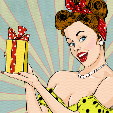 Girl with the gift in vintage style. Pin up girl. Party invitation. Birthday greeting card.Pop Art illustration of woman with the gift.Pop Art girl. Pop Art girl.Vintage advertising poster.