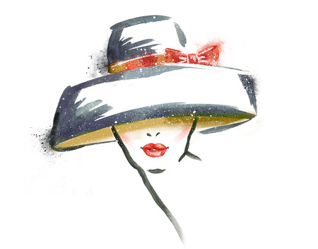 Woman portrait with hat .Abstract watercolor .Fashion illustration.Red lipsの写真素材