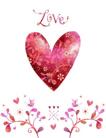 Love. Watercolor red heart. Design element.Save the date background. Vintage background. Valentine background. Hand drawn. Grunge heart. Love heart design. Valentine day