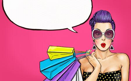 Photo pour Pop Art girl with shopping bags. Comic woman. Sexy girl. - image libre de droit