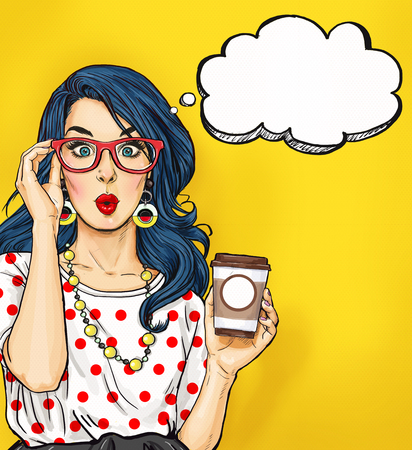 Pop Art girl with coffee cup in glasses with thought bubble. Party invitation. Birthday card. Hollywood, movie star. Comic woman. Sexy girl.