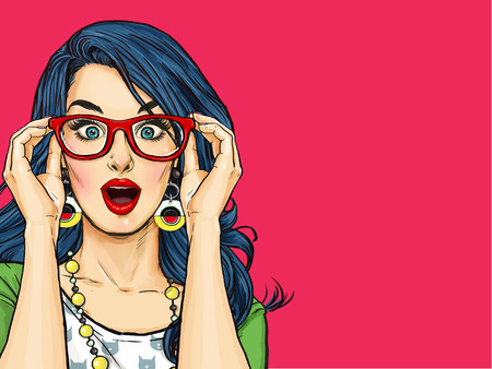 Surprised Pop Art girl  in glasses. Party invitation. Birthday card.  , Comic woman. Sexy girl. Amazed woman. Sale, wow, cute, lips, hippie, face, wonder, temptation, swag, shock, gossip, look