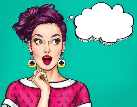 Foto de Surprised young sexy woman with open mouth.Comic woman. Amazed women. Pop Art girl. - Imagen libre de derechos