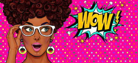 Pop Art illustration, surprised girl.Comic woman. Wow.Advertising poster. Pop Art girl. Party invitation. Birthday greeting card. Advertising poster. Romantic girl hiding her face. Pop art background