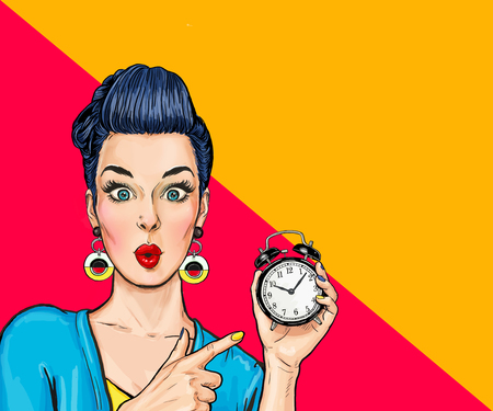 Foto de Surprised comic woman with clock - Imagen libre de derechos