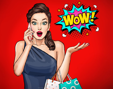 Foto de Surprised young sexy woman with open mouth.Surprised girl. Comic woman. Wow. Advertising poster. Pop Art girl. Woman with smart-phone. - Imagen libre de derechos