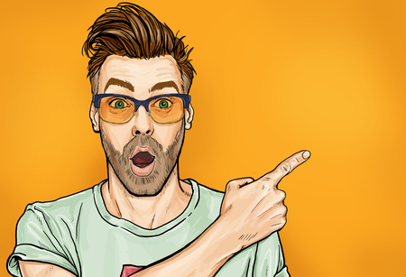 Photo for Amazed fashionable guy in glasses with open mouth, stares aside, shows something strange and unexpected. Emotions and advertisement. Surprised men. - Royalty Free Image