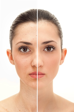 woman's face, beauty concept before and after contrast,  power of retouchの写真素材