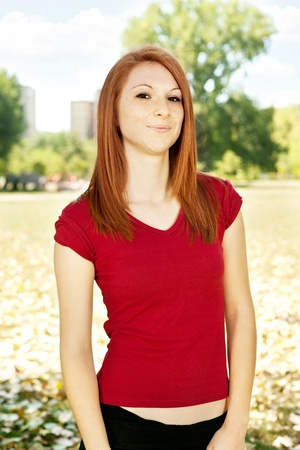portrait of lovely young girl, outdoor