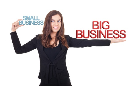 businesswoman holding small business and big  business in hands, comparison business different, isolated