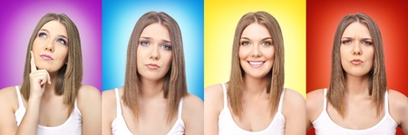 Photo pour collage of colors and emotion, girl with facial expressions - image libre de droit