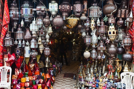 Traditional lamps for sale in a Moroccan souk, Marrakesh