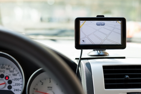 GPS navigation system in a traveling car