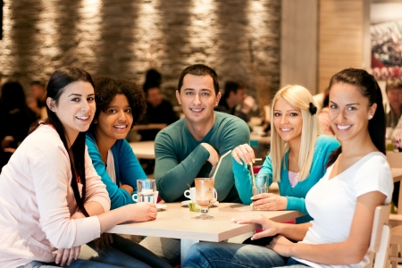 Group of teenagers in café, students leisure activities leisure activities