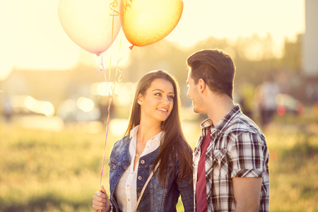Foto de young love couple at romantic dating - Imagen libre de derechos