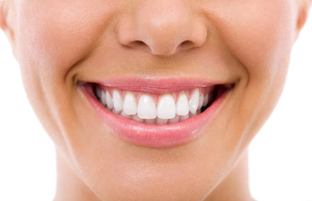 Photo pour  Woman smile, teeth whitening, dental care - image libre de droit