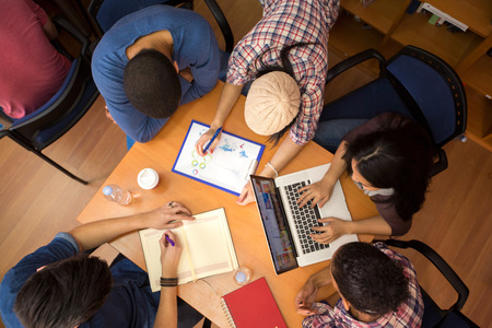Photo for Top view of group of colleagues working  in team - Royalty Free Image