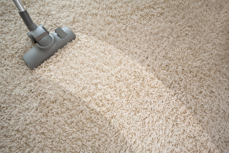 Photo pour Vacuuming rough carpet in living room with vacuum cleaner - image libre de droit