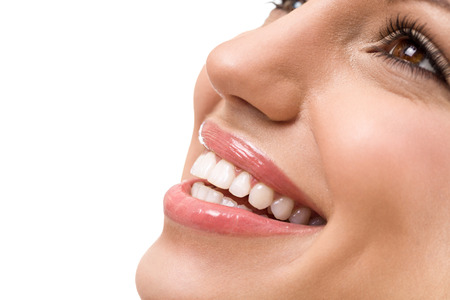 Photo pour Great smile with straight white teeth, young woman with healthy teeth - image libre de droit