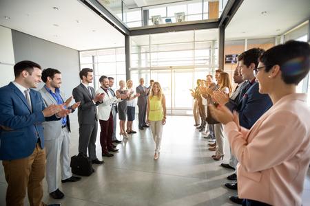 Photo pour applauding to smile confident leader employer - image libre de droit