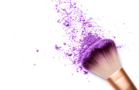 Photo pour shadows and makeup brush isolated on white - image libre de droit