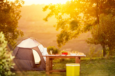 Photo for camping family table on vacation - Royalty Free Image