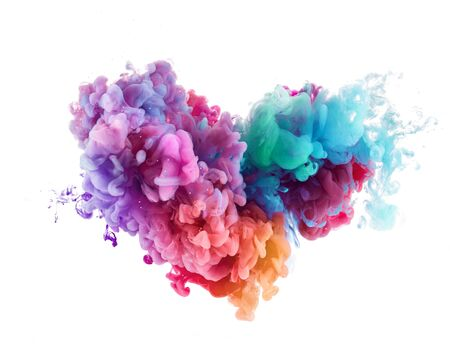 Photo for Heart shape Splash from colorful water paint - Royalty Free Image