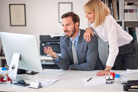 Foto für business woman and business man  at office working together. - Lizenzfreies Bild