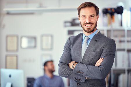 Photo pour Portrait of successful business man  at office. - image libre de droit