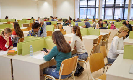 Photo pour Students and professor at a lecture in an educational institution. Smart young people study at the college. Education, college, university, learning and multiethnic people concept - image libre de droit