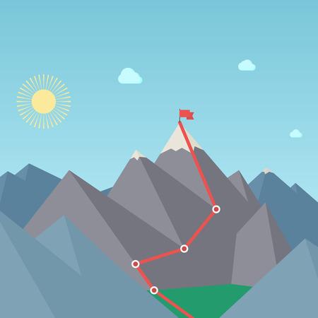 Mountaineering Route. Goal Achievement Concept. Vector
