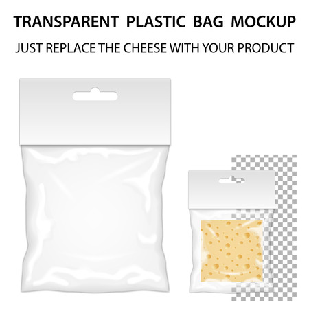 Transparent Plastic Bag Mockup Ready For Your Design. Blank Packaging Template With Hang Slot. Isolated On White Background. Vector.