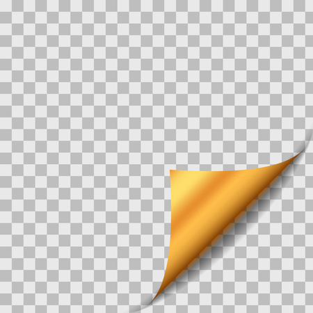Illustration pour Golden Curled Paper Sheet Corner With Shadow. Design Element On Transparent Background. Page Turn. Vector - image libre de droit