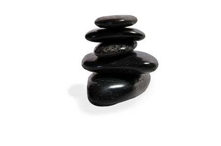 Balancing stones isolated over white with path.
