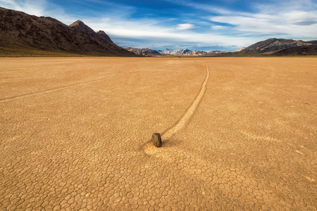 Sailing stones in Death Valley National Park