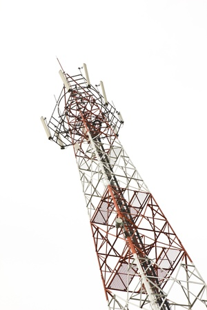 Mobile phone communication tower isolated on white