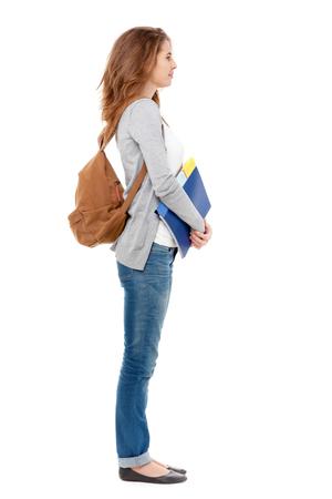 Photo for Profile of happy female student isolated on white background. - Royalty Free Image